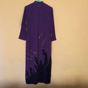 Dresses & Skirts - Plum Cheongsam with velvet & glitter detail